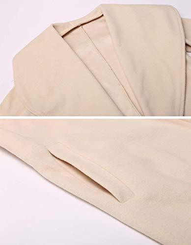 Cardigan Lunga Cappotti Grazioso Manica Fit Lunga Casual Monocromo Giaccone Cintura Invernali Fashion Cappotto Donna Bavero Eleganti Autunno Inclusa Slim Outerwear Beige IxSqTnw7Z8