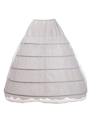 Adult Short White Crinoline (Remedios 5 Boned Full Petticoat Bridal Underskirt Crinoline Hoop Skirt)