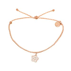 Pura Vida Rose Gold Plumeria Bracelet – Waterproof, Artisan Handmade, Adjustable, Threaded, Fashion Jewelry for Girls/Women