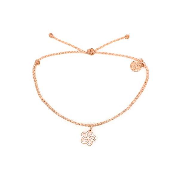 Pura Vida Rose Gold Plumeria Bracelet – Waterproof, Artisan Handmade, Adjustable, Threaded, Fashion Jewelry for Girls/Women