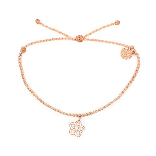 - Pura Vida Rose Gold Plumeria Blush Bracelet - Waterproof, Artisan Handmade, Adjustable, Threaded, Fashion Jewelry for Girls/Women