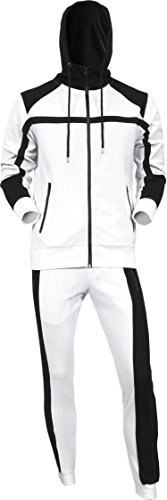 BR Mens Jacket Jogger Set French Terry Waffle Zip Up Mesh Hoodie Sweater Casual Athletic Tracksuit Set (Large, White/Black)