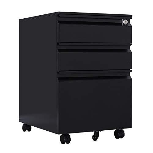 METALSTAR 3-Drawer Half Cycle Handle Mobile Pedestal File Cabinet, Metal Pedestal Storage on Wheels Under Desk (Black)