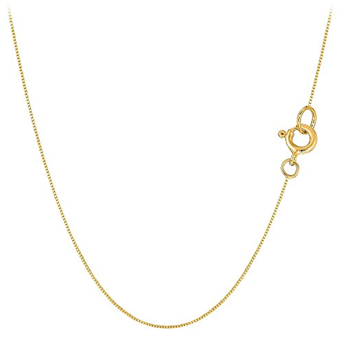 MCS Jewelry 10 Karat Yellow OR White Gold Box Chain Necklace Thin & Strong .45mm ()