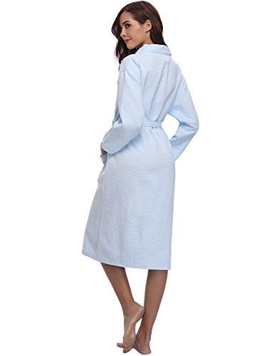 Spa Sauna Waffle Bath Abbigliamento Notte Woven Unisex Hotel a Pigiama con Accappatoio Dress Robe Femme Kimono scollo Waffle V Blu Aibrou Light UwCAxqTpER
