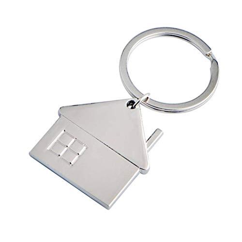 Loria Small House Shaped Pendant Keychains Metal Home Car Geometric Keyrings Key Holders Decor - Keychain House