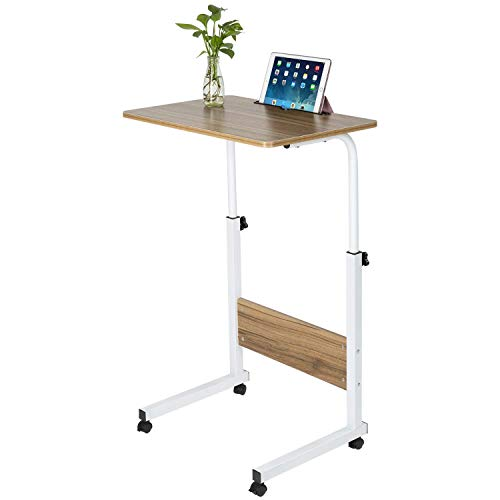 Mobile Coffee Carts - Ansley&HosHo C Shaped Mobile Adjustable Side Table Laptop Cart Table on Wheel Overbed Computer Rolling Desk for Small Space Coffee Tray Table Slide Under Sofa (Walnut)