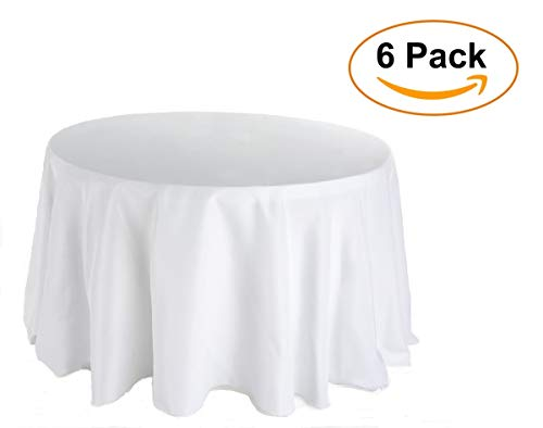 Plastic Tablecloth (6 Pack) Premium Disposable White Tablecloths 84 Inches Round' Party BBQ Birthday Tablecloth Multiuse Table Cover