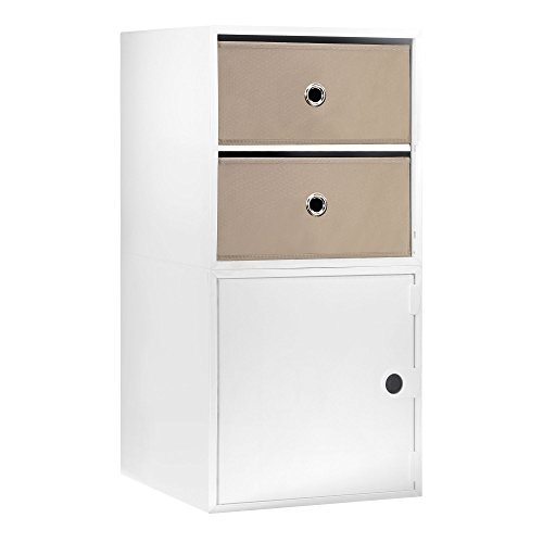 iCube 2-Drawer Nightstand (White) by iCube