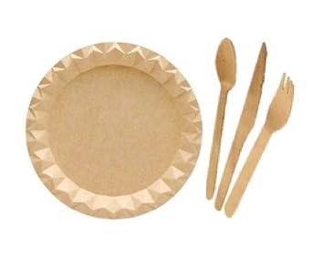 Pack 200 uds: 50 Juegos Cubiertos de madera + 50 Plato Kraft, ideal para celebraciones, cumpleaños,...: Amazon.es: Hogar