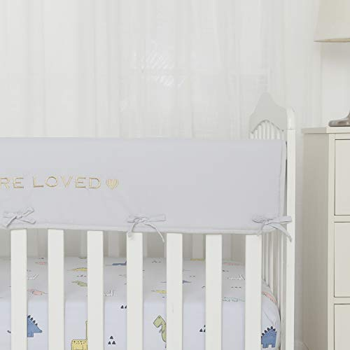 TILLYOU Personalized Padded Baby Crib Rail Cover Protector Safe Teething Guard Wrap for Long Front Rails 100% Silky Soft Microfiber Polyester - Embroidered and Reversible - Pale Gray, You are Loved