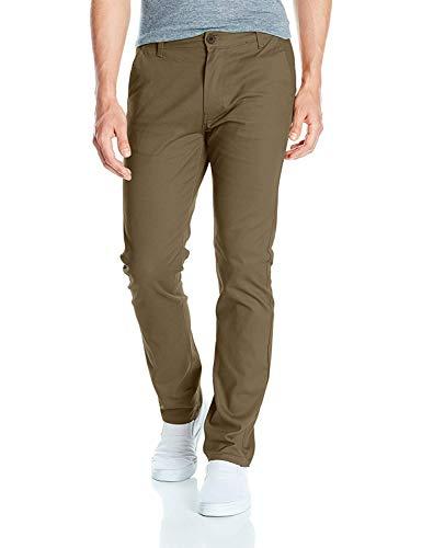 Southpole Men's Flex Stretch Basic Long Chino Pants, Olive (New), 34X34 - Green Khaki Chino