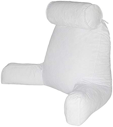 - Husband Pillow - White, Big Reading & Bed Rest Pillow with Arms - Sitting Up Tall - Premium Shredded Memory Foam, Detachable Neck Roll on Bungee, Removable Covers & Zipper for Adjustable Loft
