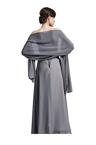 Sheer Soft Chiffon Bridal Women's Shawl For Special Occasions Stone Grey
