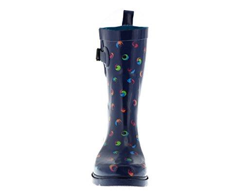 Capelli New York Swirl Dots Utskrifts Damer Regn Stövlar Marinen Combo
