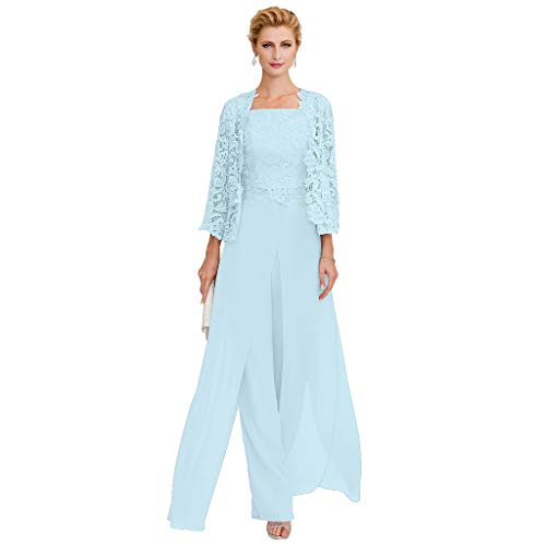 TS Pantsuit Straps Floor Length Chiffon Corded Lace Split Front Mother of The Bride Dress with Appliques Sky -