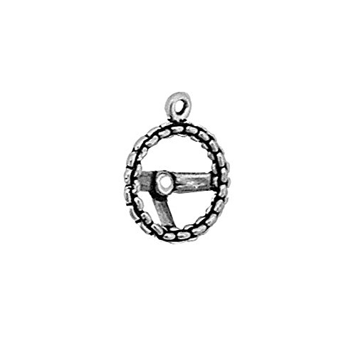 (Sterling Silver 3D Chain Steering Wheel Charm Item #2764)