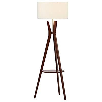Rivet Zoey Mid Century Modern Tripod Living Room Floor Lamp With Light Bulb and Table - 18.5 x 18.5 x 58 Inches, Walnut - This mid-century modern floor lamp brings style, warmth and functionality to any room.   Rich walnut legs form a tripod base with a round storage shelf in the middle. The brushed sliver neck merges with a crisp white linen shade. Clean mid-century modern style Warm walnut with brushed silver and linen - living-room-decor, living-room, floor-lamps - 31dhd5UVaaL. SS400  -