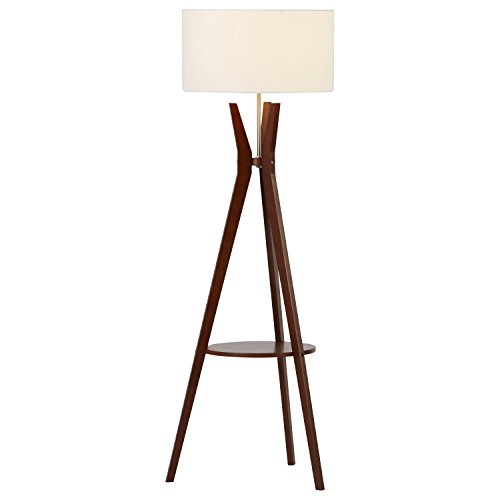 Rivet Zoey Mid-Century Tripod Storage Floor Lamp 58''H, With Bulb, Walnut by Rivet