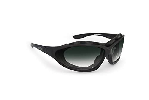 Motorcycle Sunglasses - Interchangeable Arms and Strap - by Bertoni Italy FT333B Wraparound Windproof Motorbike - Interchangeable Arms Sunglasses