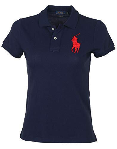 Polo Ralph Lauren Women's Big Pony Skinny Mesh Polo Shirt-Navy-XL