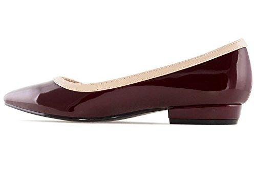 Andres Machado Damen Lack Ballerina - Weinrot Schuhe in Übergrößen