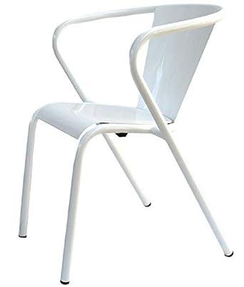 Terassenstuhl Gartenstuhl Metall Weiss Designklassiker Aus Lissabon