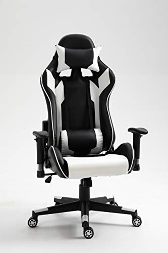 BLITZED High Back PU Leather 7786 Gaming Chair Computer Office Chair with Armrest Adjustment and Lumbar Support (White & Black)