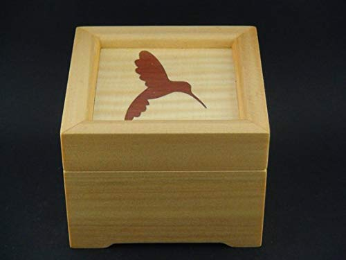 Music Box with Auto Play/Stop Trigger and Hummingbird Marquetry Inlay, Play Select Tune from List, Personalise or Customise -
