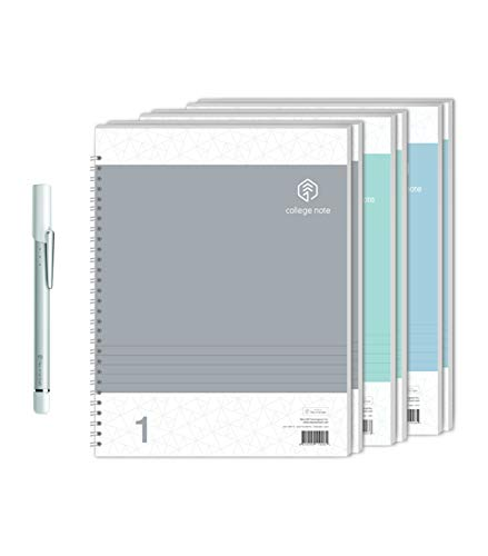 NeoLab Convergence Neo Smartpen N2 (Silver White) with N College Notebooks (3 Pack - 200 College Ruled Pages) Bundle for iOS, Android, Smartphones, Tablets, and Windows