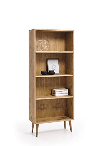 HOGAR24 ES- Estantería- librería de Madera Maciza Natural Acabado Encerado con baldas Regulables diseño Vintage.