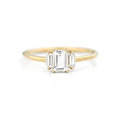 daf394478a0ca Amazon.com: 14K EMERALD CUT WHITE SAPPHIRE RING - Geo: Handmade
