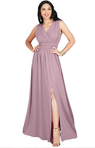 KOH KOH Womens Long Bridesmaid Wedding Guest Cocktail Party Sexy Sleeveless Summer V-Neck Evening Slit Day Full Floor Length Gown Gowns Maxi Dress Dresses, Dusty Pink L 12-14