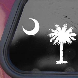 PALMETTO TREE MOON SC FLAG White Decal Sticker Die-cut White Decal (South Carolina Palmetto Decal)