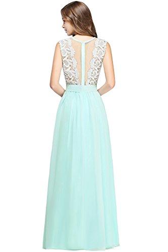2018 Cocktailkleid Hochzeit Lang Festliche Brautjungfernkleid Mintgrün Chiffon Kleider Damen MisShow Abendkleid Elegant SZwHwFq