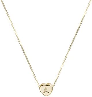 Initial Heart Necklace 14K Handmade Personalized product image