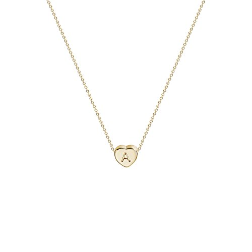 Girls Heart Necklace (Tiny Gold Initial Heart Necklace-14K Gold Filled Handmade Dainty Personalized Heart Choker Necklace For Women Letter A)