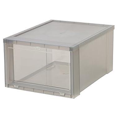 IRIS Large Drop Front Shoe Box, 6 Pack, Gray