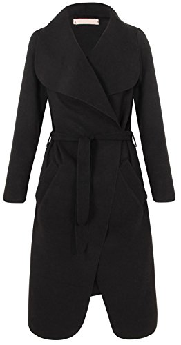 cascade ceinture Fallaway avec veste femme Noir unique 9590 Noir Taille 36 Drapped Long Cardigan pour 42 wF84ExSq