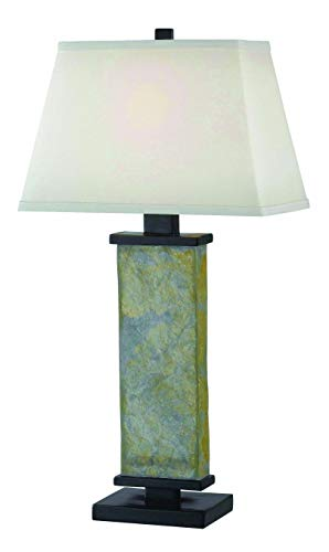 Kenroy Home Natural Slate Table Lamp, 29 Inch Height, White Rectangular (Lamp Rectangular Table Lamp)