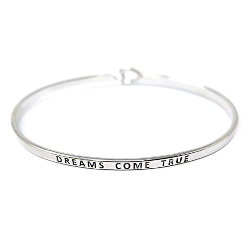 Me Plus Inspirational Bracelets for Personalized Gifts Positive Message Engraved Thin Bangle Hook Bracelet (Dreams Come True - Silver)