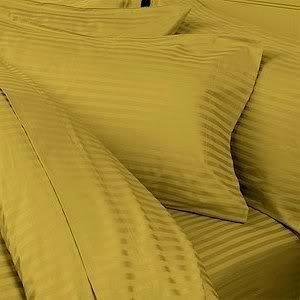 - 7PC ITALIAN 1200 Thread Count Egyptian Cotton Set - Includes Sheet Set & Duvet Set, King, Gold Stripe, Premium ITALIAN Finish