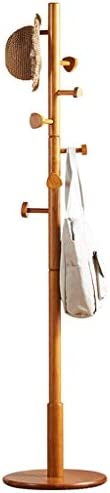 壁掛け式コートラック 木製コートラックエントランスホールツリーコートツリー用ソリッドラウンドベース付き帽子服財布スカーフハンドバッグ収納(ログカラー7フック) 玄関、寝室用