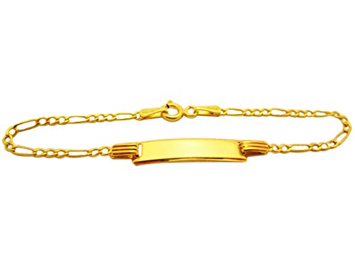 AMZ Jewelry Babies Toddlers 10k Yellow Gold Figaro Link ID Bracelet 5.5 in