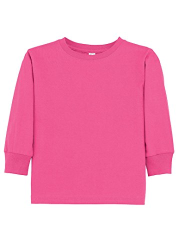 UPC 052987042139, Rabbit Skins 100% Cotton Blank Toddler Football Jersey [Size 4T] Hot Pink Long Sleeve T-Shirt