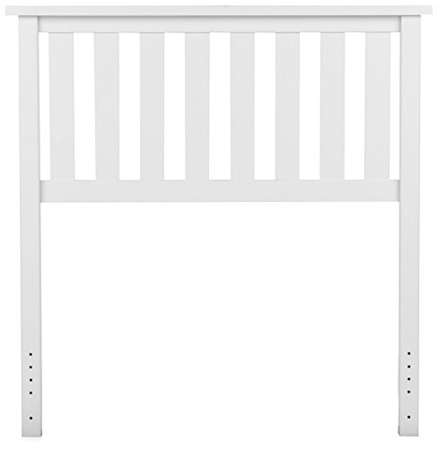 (Leggett & Platt Belmont Wood Headboard Panel with Flat Top Rail and Slatted Grill Design, White Finish, Twin)