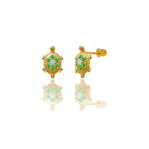 Stephanie Rockway 14kt Solid Gold Kids Turtle Stud Screwback Earrings - Emerald Green