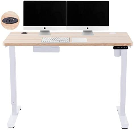CO-Z Height Adjustable Computer Desk with USB Charging Station | 55x28 inch Motorized Sitting and Standing Desk for Home Office More | Electric Sit Stand Gaming Desk with Cable Management, White