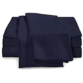 100% Egyptian Cotton Sheet Set - 1000 Thread Count   Hotel Luxury Single Ply - Sateen Weave   Set Includes One Flat Sheet, One Fitted Sheet & Two Pillowcases, King, Navy Blue