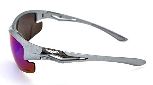 cyclisme Course de de Vertx et Athletic durable gratuit Blue soleil léger pour Lunettes Frame Lens femme Sport microfibre à Green étui Pied Silver homme pour W 67Oqv6w